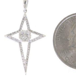 Solid 14K White Gold Diamond Cross Pendant